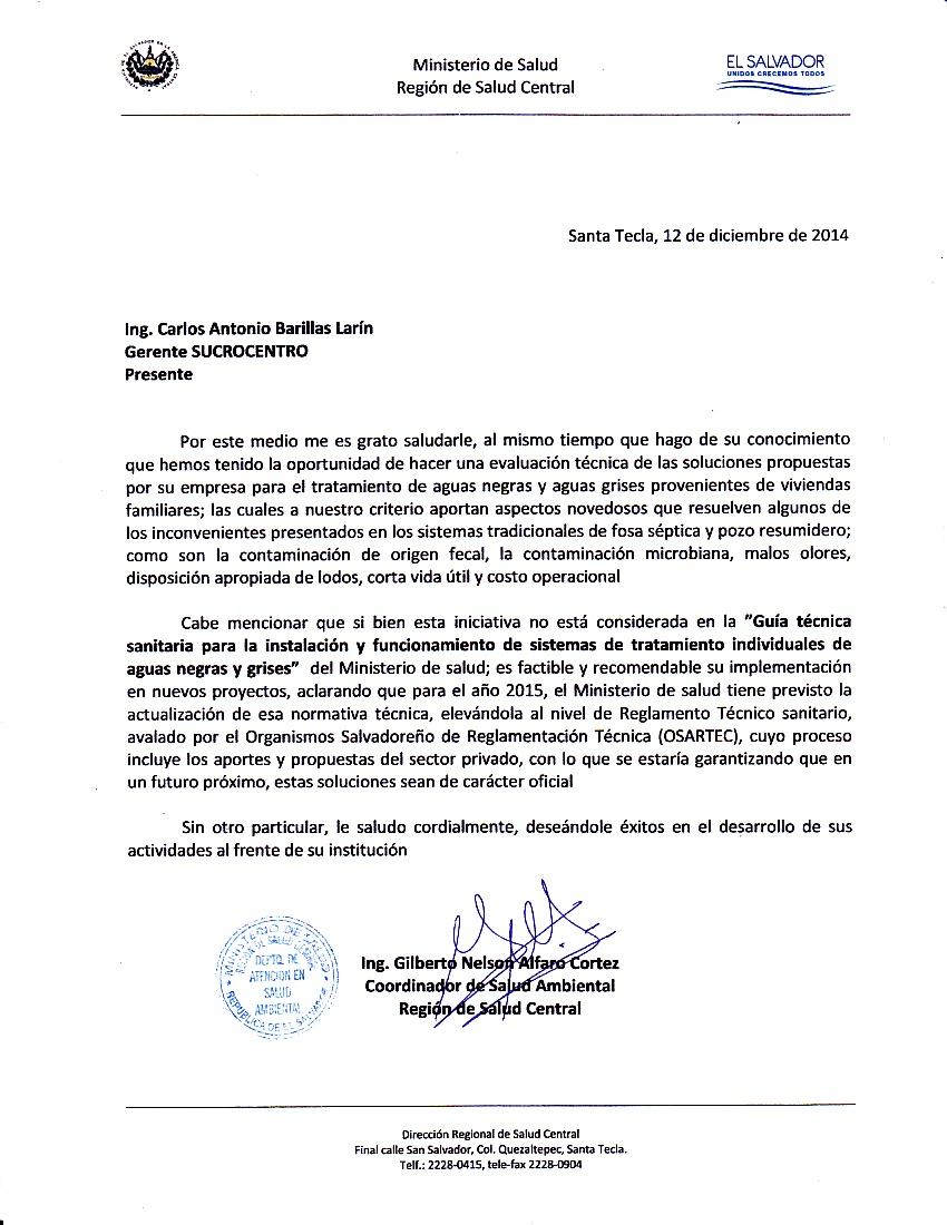 Sucrocentro sa de cv anaerobic sewage treatment certification iscos certification anda certification ministry of public health of el salvador 1betcityfo Gallery